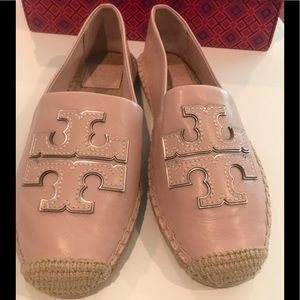 NIB Tory Burch Pink Leather Espadrille Size 8